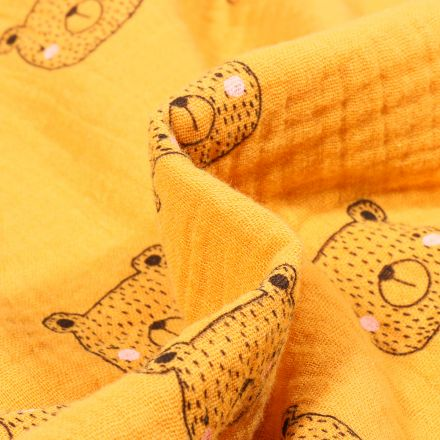 Tissu Double gaze Bio Tête d'ours sur fond Jaune