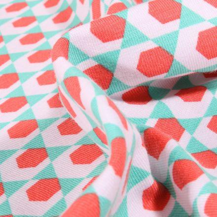 Tissu Jersey Coton Bio Hexagone rouge sur fond Blanc