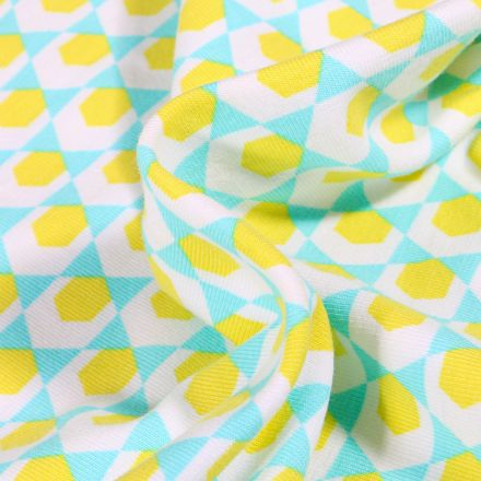 Tissu Jersey Coton Bio Hexagone jaune sur fond Vert menthe