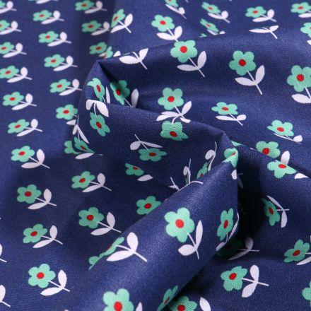 Tissu Coton imprimé LittleBird Flowers sur fond Bleu nuit