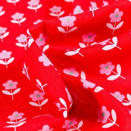 Tissu Coton imprimé LittleBird Flowers sur fond Rouge
