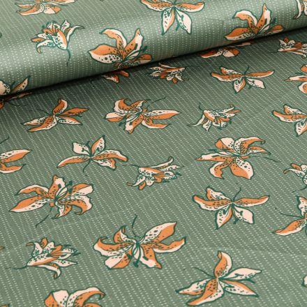 Tissu Satin Fleurs et rayures sur fond Vert