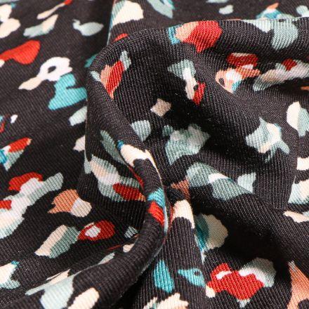 Tissu Jersey Modal Taches colorées abstraites sur fond Noir