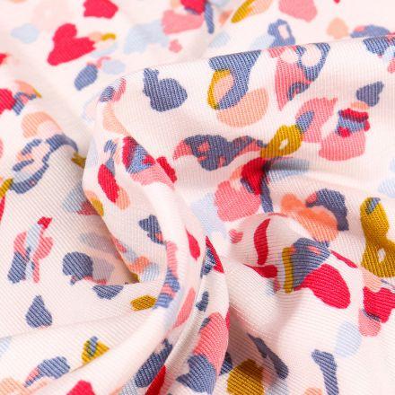 Tissu Jersey Modal Taches colorées abstraites sur fond Blanc