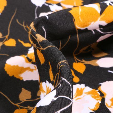 Tissu Crêpes imprimé Boutons de rose sur fond Noir