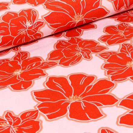 Tissu Crêpe imprimé Grandes fleurs rouge sur fond Blanc
