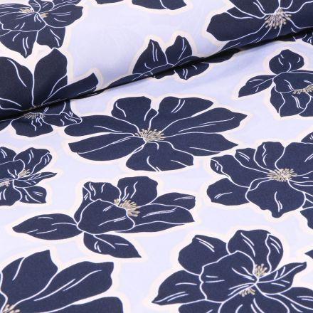 Tissu Crêpe imprimé Grandes fleurs bleu sur fond Blanc