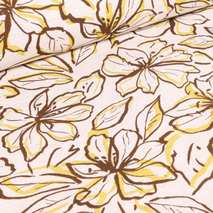 Tissu Viscose Lin Grandes fleurs jaune sur fond Blanc