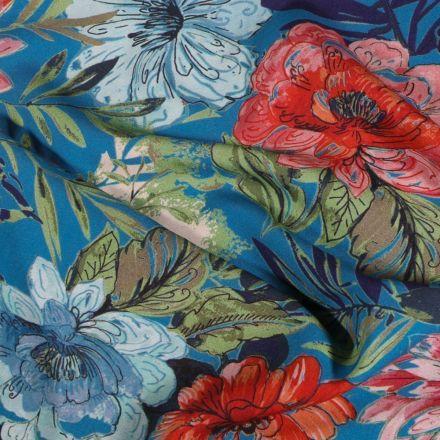 Tissu Viscose extensible Aquarelle fleuris sur fond Bleu - Par 10 cm