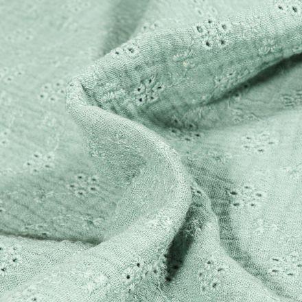 Tissu Double gaze brodé ajouré Petites fleurs sur fond Vert amande