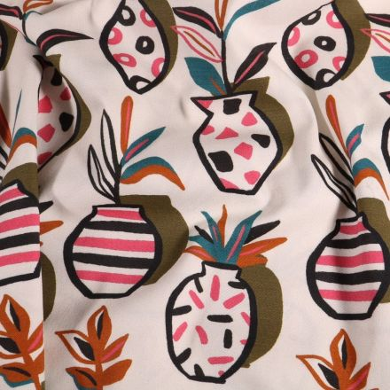 Tissu Coton imprimé extensible vases colorés sur fond Blanc - Par 10 cm