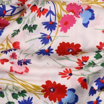 Tissu Viscose  Fleurs des champs sur fond Blanc - Par 10 cm