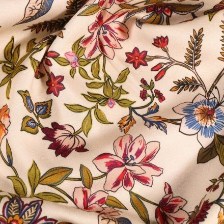 Tissu Viscose  Fleurs et branches fleuris sur fond Blanc cassé - Par 10 cm