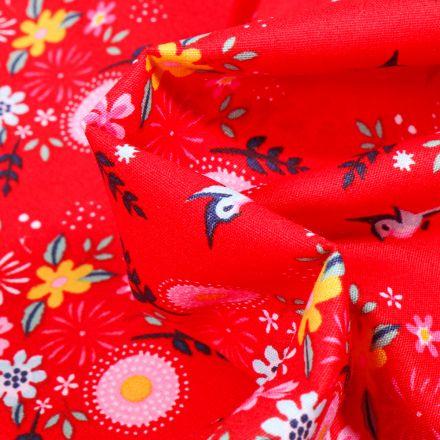 Tissu Coton imprimé Fleurs estivales sur fond Rouge