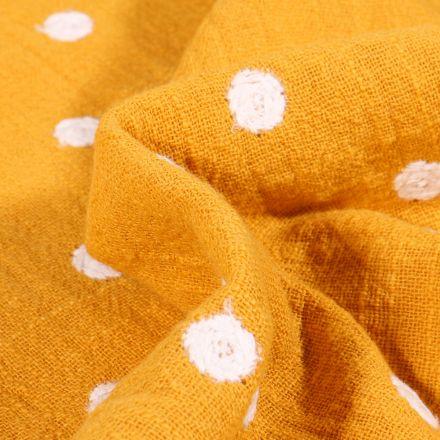 Tissu Coton lavé Pois brodés sur fond Jaune