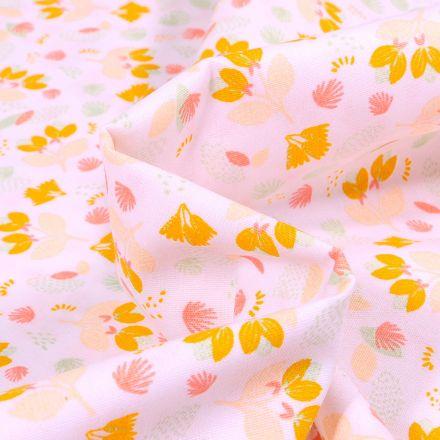 Tissu Coton imprimé LittleBird Jolies fleurs sur fond Blanc