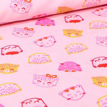 Tissu Coton imprimé Têtes de chats sur fond Rose