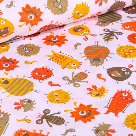 Tissu Coton imprimé LittleBird Montres rigolo sur fond Blanc