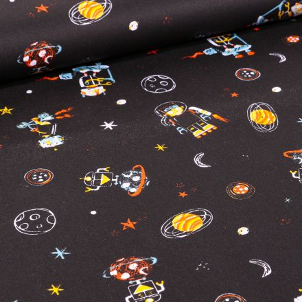 Tissu Coton imprimé LittleBird Robot et planètes sur fond Noir