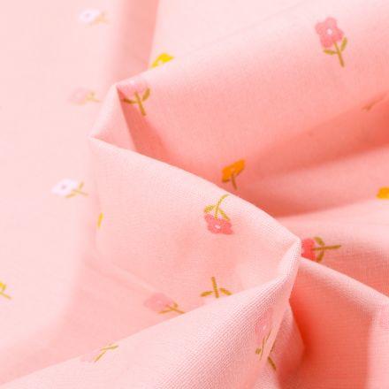 Tissu Coton imprimé LittleBird Mini fleurs sur fond Rose