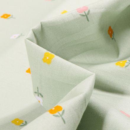 Tissu Coton imprimé LittleBird Mini fleurs sur fond Vert menthe