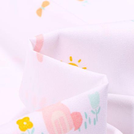 Tissu Coton imprimé LittleBird Nuages et lapins sur fond Blanc