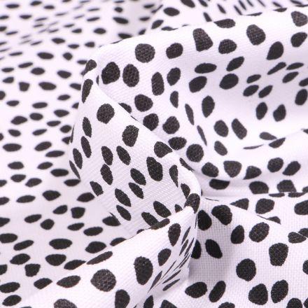 Tissu Toile Coton Canvas Pois destructurés noir sur fond Blanc