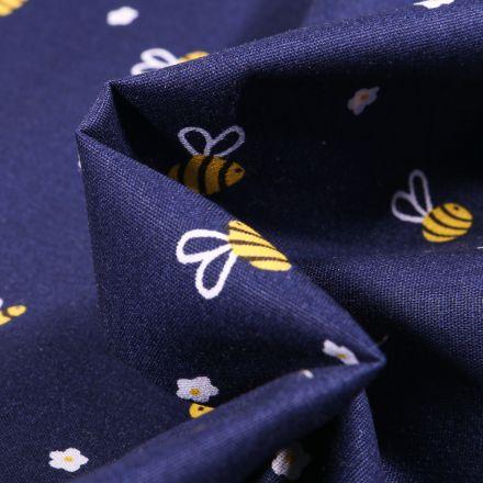 Tissu Coton imprimé Abeille et petites fleurs sur fond Bleu marine