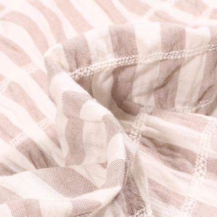 Tissu Crépon Brodé Elisa Rayures brodées sur fond Beige