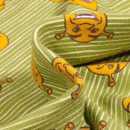 Tissu Jersey Coton Shrek sur fond Vert