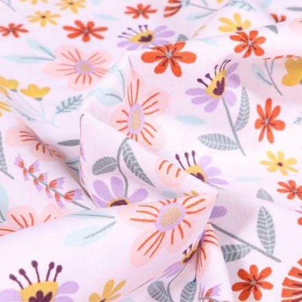 Tissu Coton imprimé Fleurs des champs sur fond Blanc