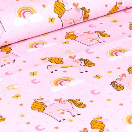 Tissu Coton imprimé Poney Licornes sur fond Rose