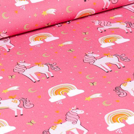 Tissu Coton imprimé Poney Licornes sur fond Rose bonbon