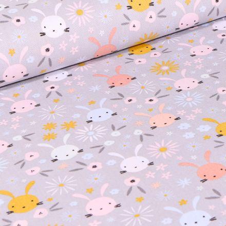 Tissu Coton imprimé Têtes lapinou sur fond Gris clair