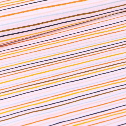 Tissu Coton imprimé LittleBird Rayures multicolores sur fond Blanc