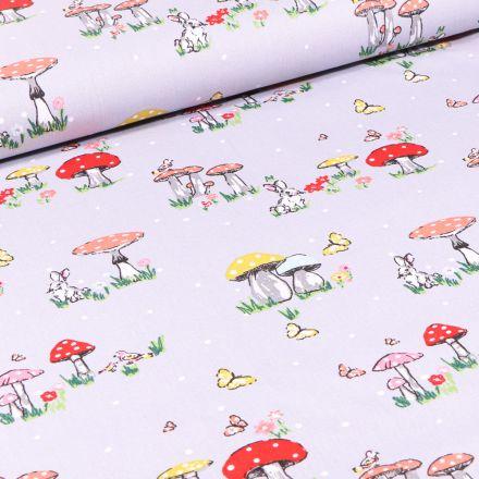 Tissu Coton imprimé Lapins et champignons sur fond Gris