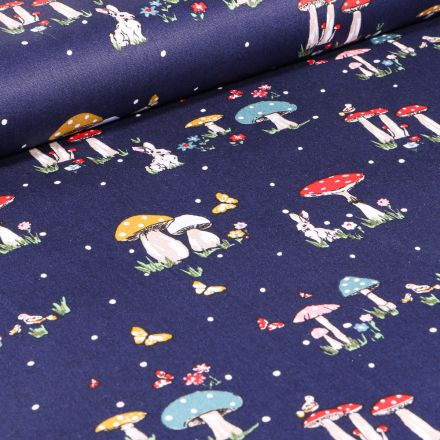 Tissu Coton imprimé Lapins et champignons sur fond Bleu nuit