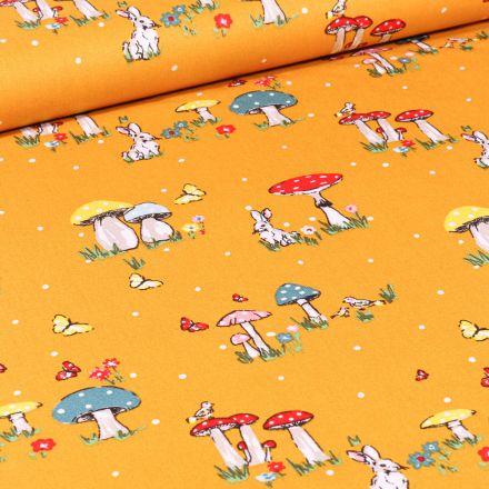 Tissu Coton imprimé Lapins et champignons sur fond Jaune