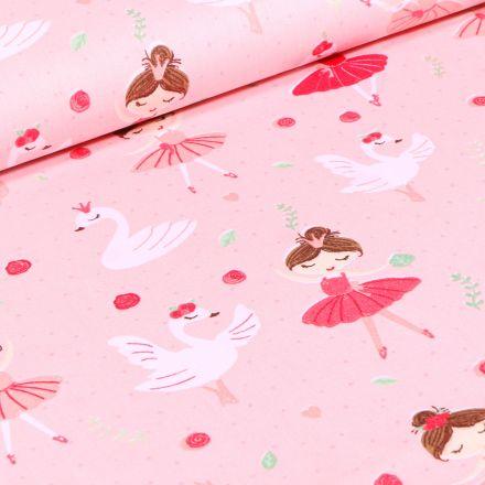 Tissu Coton imprimé Danseuse et cygnes sur fond Rose