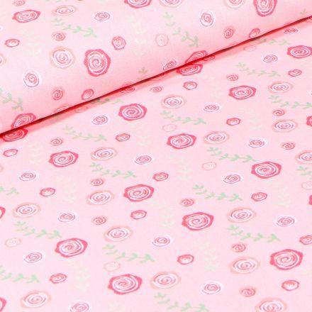 Tissu Coton imprimé Roses sur fond Rose