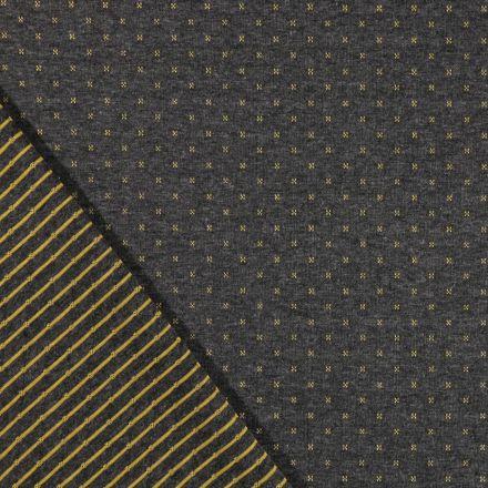 Tissu Sweat Matelassé Réversible Motifs jaunes sur fond Gris foncé chiné - Par 10 cm