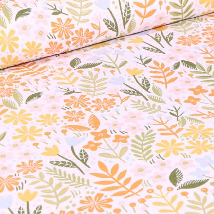 Tissu Coton imprimé Végétations colorés sur fond Blanc