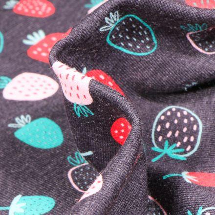 Tissu Jersey coton Fraises dessinées sur fond Gris chiné