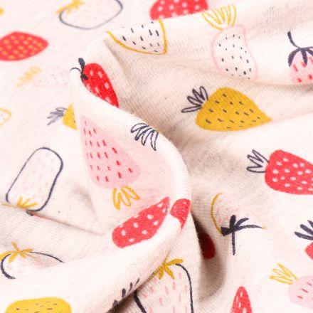 Tissu Jersey coton Fraises dessinées sur fond Blanc chiné