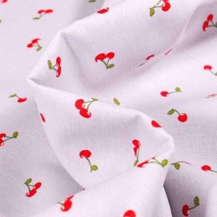 Tissu Coton imprimé Cherry Cherry sur fond Gris