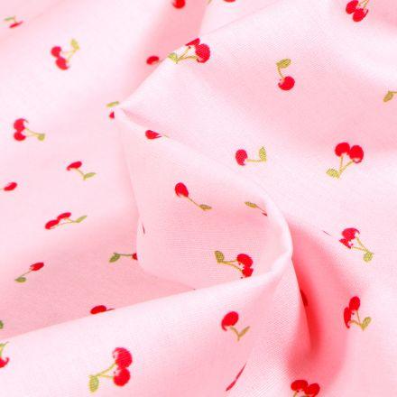 Tissu Coton imprimé Cherry Cherry sur fond Rose pâle
