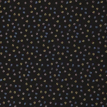 Tissu Mousseline Bouches Jaunes et bleues sur fond Noir - Par 10 cm