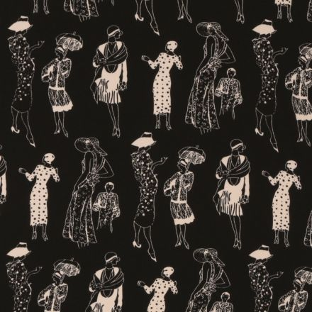 Tissu Mousseline Gravures de Mode Vintage Femmes en Blanc sur fond Noir - Par 10 cm