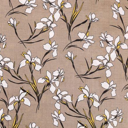 Tissu Voile de Coton Viscose Orchidées Blanches, noires et jaunes sur fond Taupe - Par 10 cm