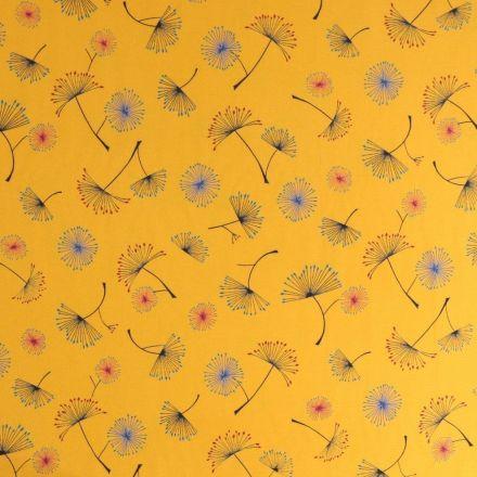 Tissu crêpe lisse Pissenlit coloré sur fond Ocre - Par 10 cm